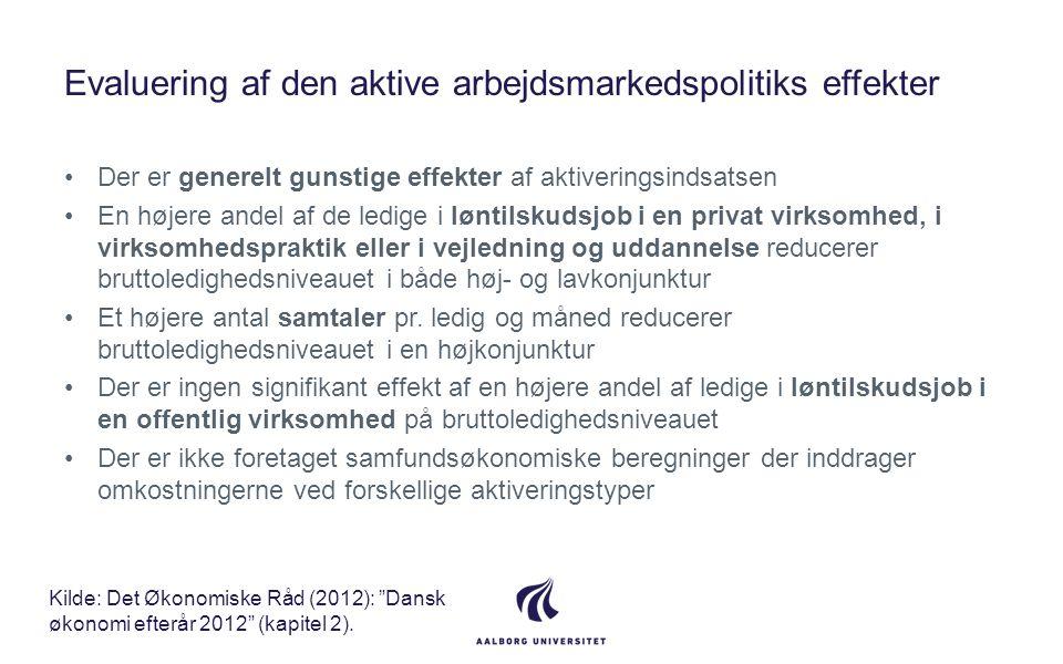 Evaluering af den aktive arbejdsmarkedspolitiks effekter