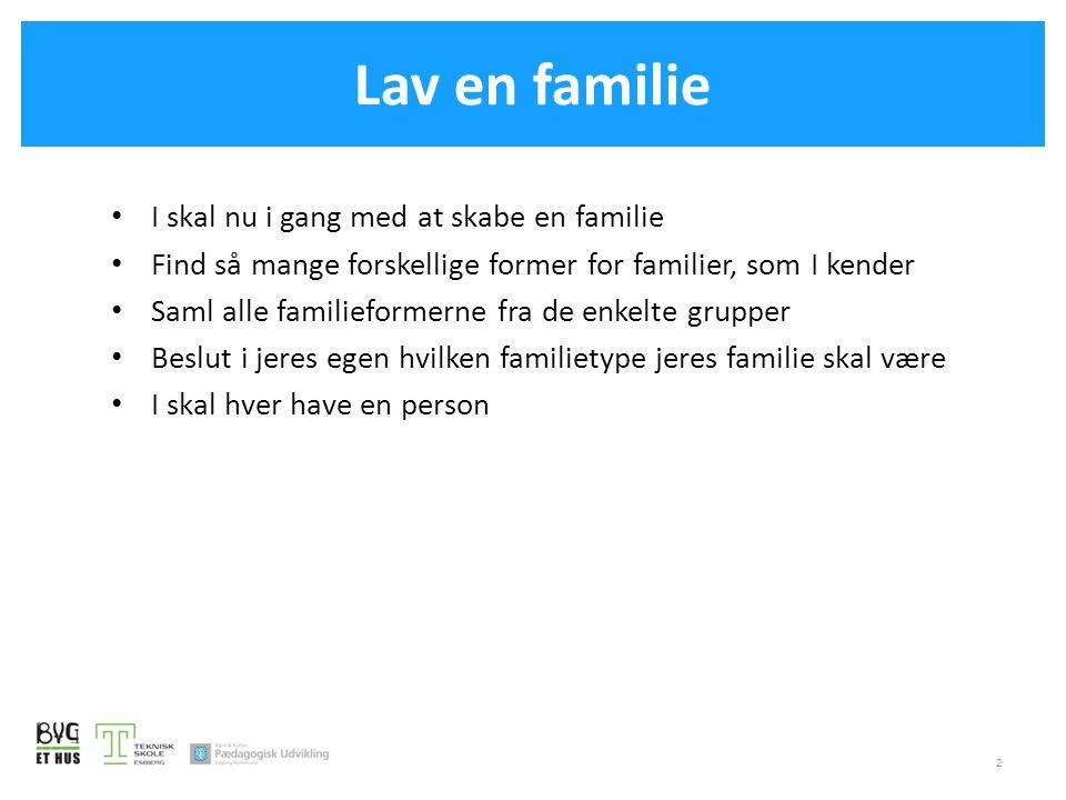 Lav en familie I skal nu i gang med at skabe en familie