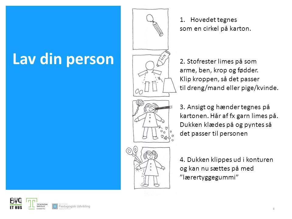 Lav din person 1. Hovedet tegnes som en cirkel på karton.