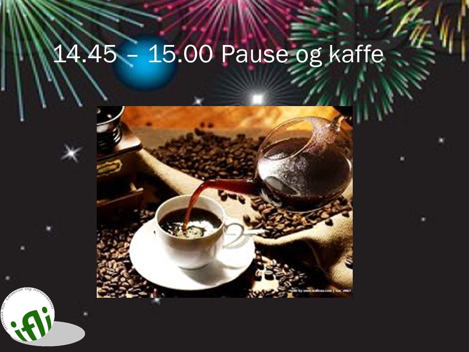 14.45 – 15.00 Pause og kaffe