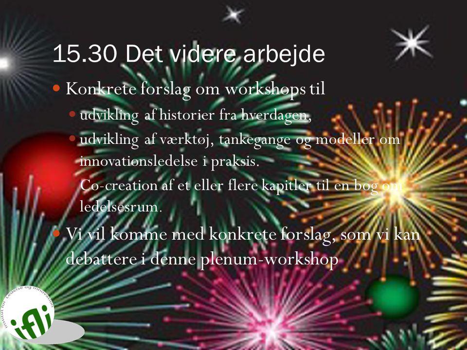 15.30 Det videre arbejde Konkrete forslag om workshops til