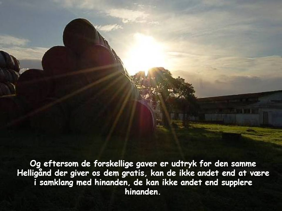 Og eftersom de forskellige gaver er udtryk for den samme Helligånd der giver os dem gratis, kan de ikke andet end at være i samklang med hinanden, de kan ikke andet end supplere hinanden.