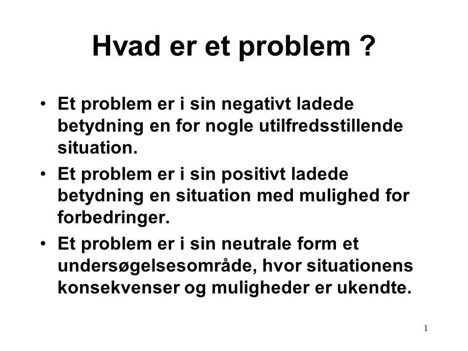 Hvad er et problem Et problem er i sin negativt ladede betydning en for nogle utilfredsstillende situation.