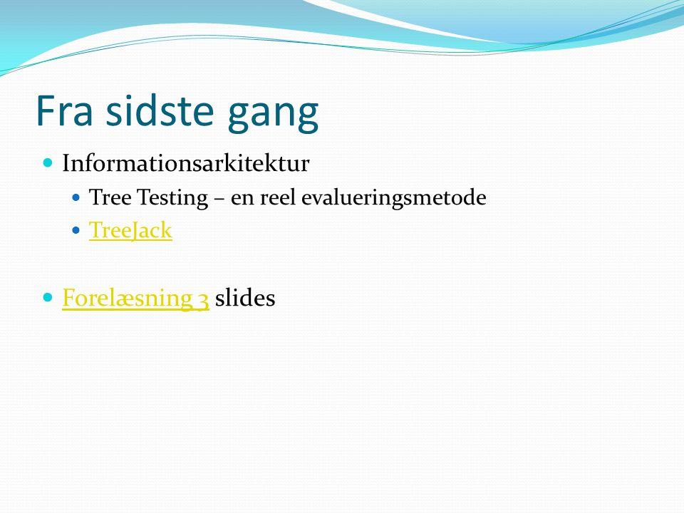 Fra sidste gang Informationsarkitektur Forelæsning 3 slides