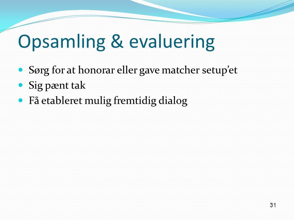 Opsamling & evaluering