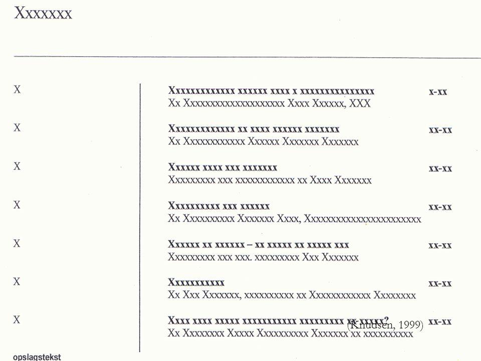 (Knudsen, 1999) Her er en indholdsfortegnelse til en lærebog.