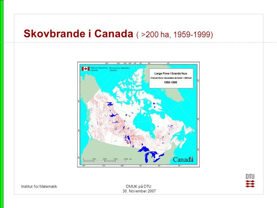 Skovbrande i Canada ( >200 ha, 1959-1999)