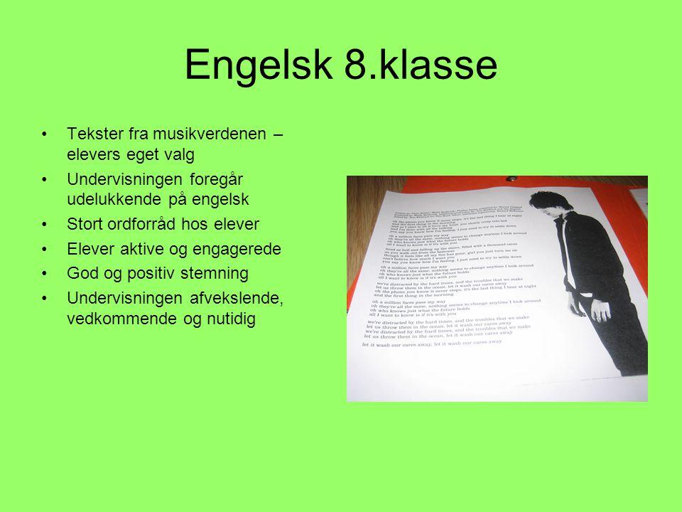 Engelsk 8.klasse Tekster fra musikverdenen – elevers eget valg