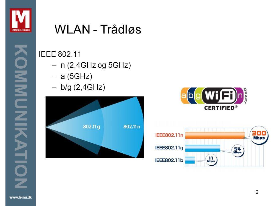 WLAN - Trådløs IEEE 802.11 n (2,4GHz og 5GHz) a (5GHz) b/g (2,4GHz)