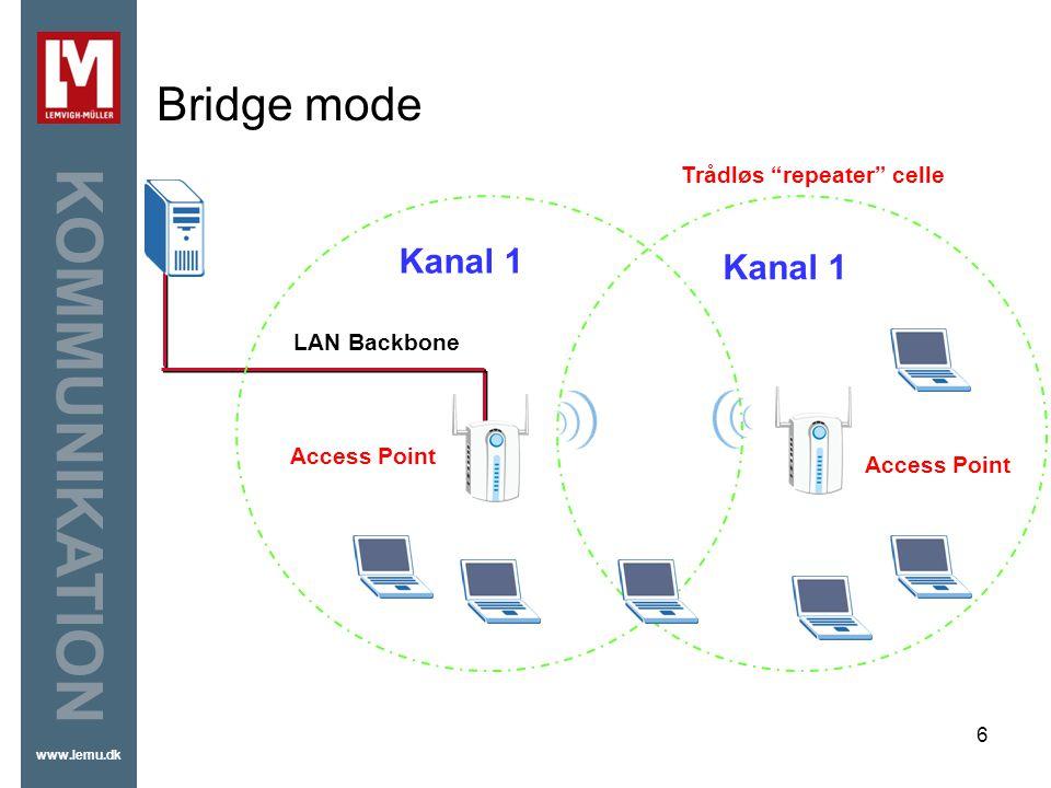 Bridge mode Kanal 1 Kanal 1 Trådløs repeater celle LAN Backbone