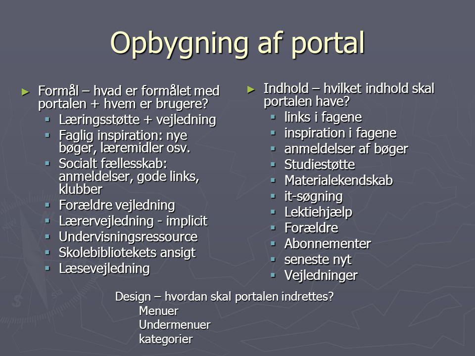 Opbygning af portal Indhold – hvilket indhold skal portalen have