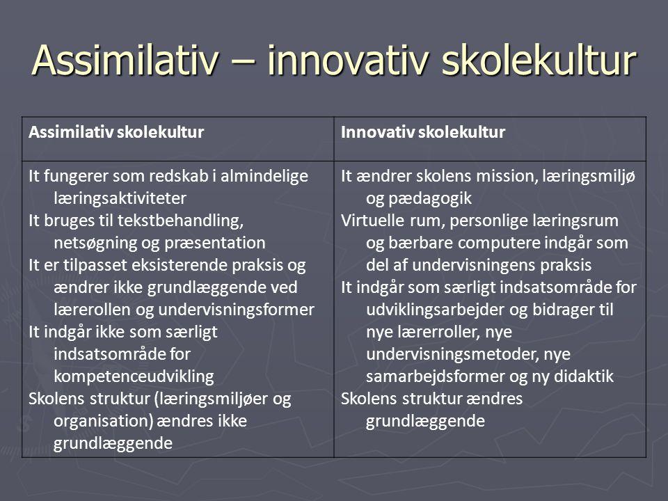 Assimilativ – innovativ skolekultur