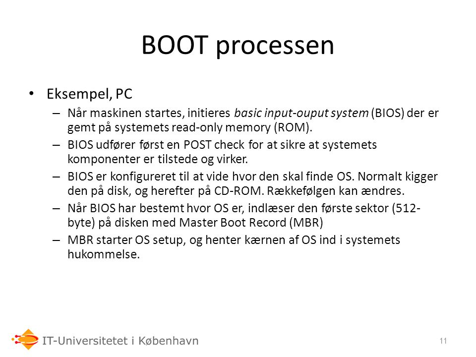 BOOT processen Eksempel, PC