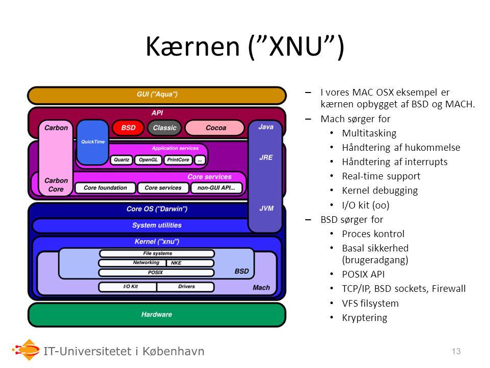 Kærnen ( XNU ) I vores MAC OSX eksempel er kærnen opbygget af BSD og MACH. Mach sørger for. Multitasking.