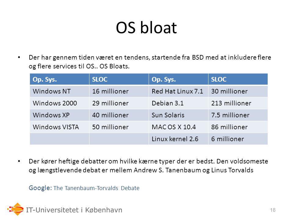OS bloat Der har gennem tiden været en tendens, startende fra BSD med at inkludere flere og flere services til OS.. OS Bloats.