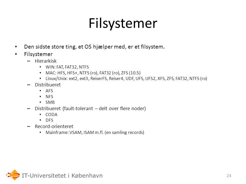 Filsystemer Den sidste store ting, et OS hjælper med, er et filsystem.