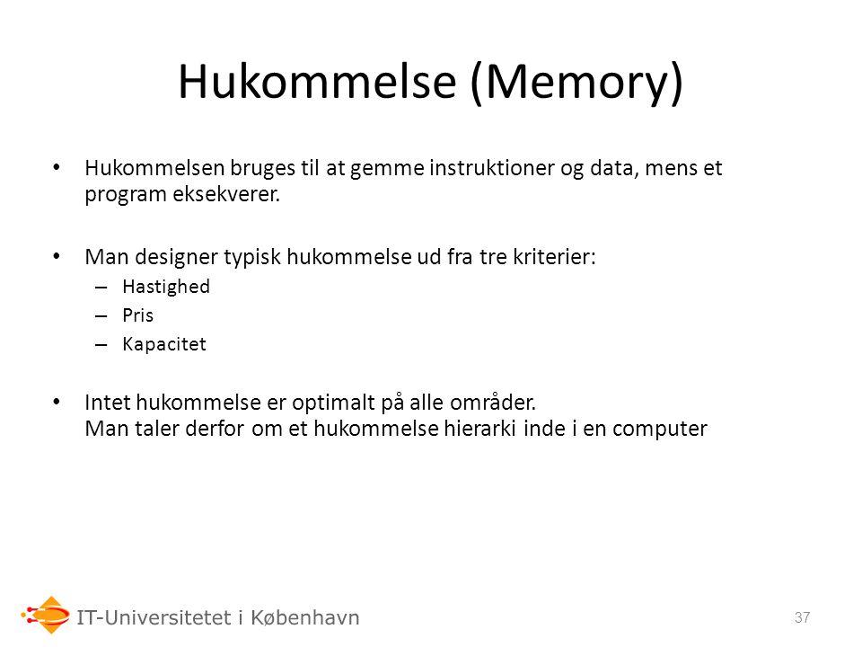 Hukommelse (Memory) Hukommelsen bruges til at gemme instruktioner og data, mens et program eksekverer.