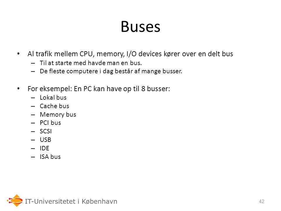 Buses Al trafik mellem CPU, memory, I/O devices kører over en delt bus