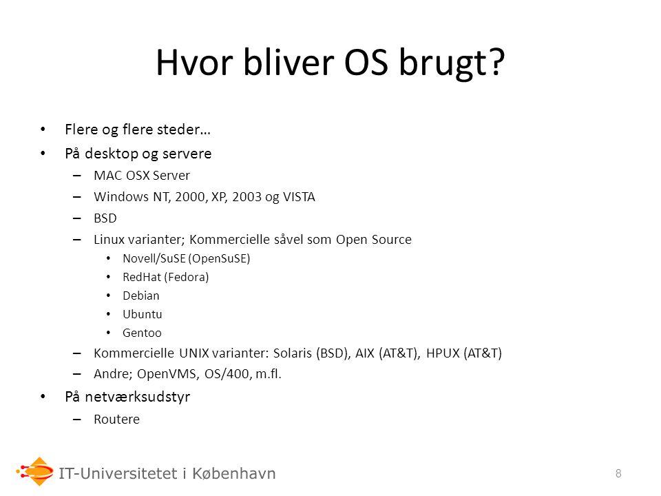 Hvor bliver OS brugt Flere og flere steder… På desktop og servere