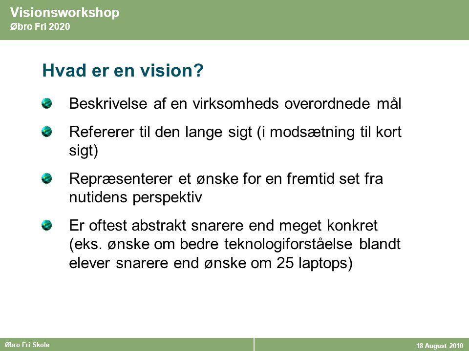 Hvad er en vision Beskrivelse af en virksomheds overordnede mål