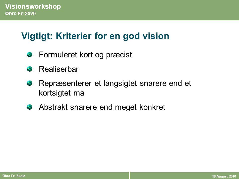 Vigtigt: Kriterier for en god vision