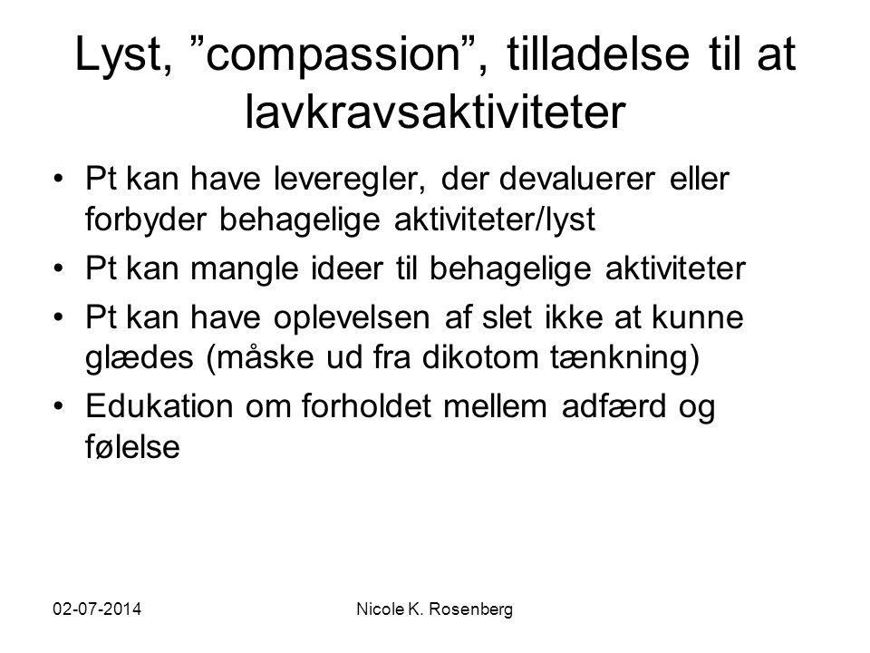 Lyst, compassion , tilladelse til at lavkravsaktiviteter