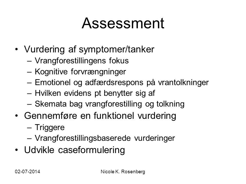 Assessment Vurdering af symptomer/tanker