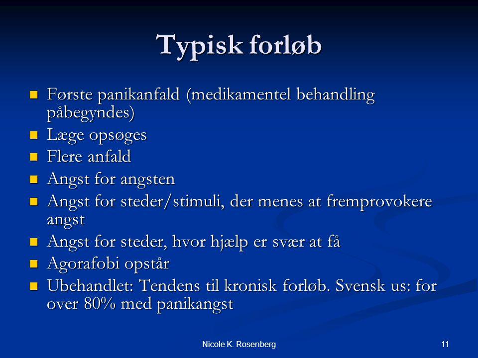 Typisk forløb Første panikanfald (medikamentel behandling påbegyndes)