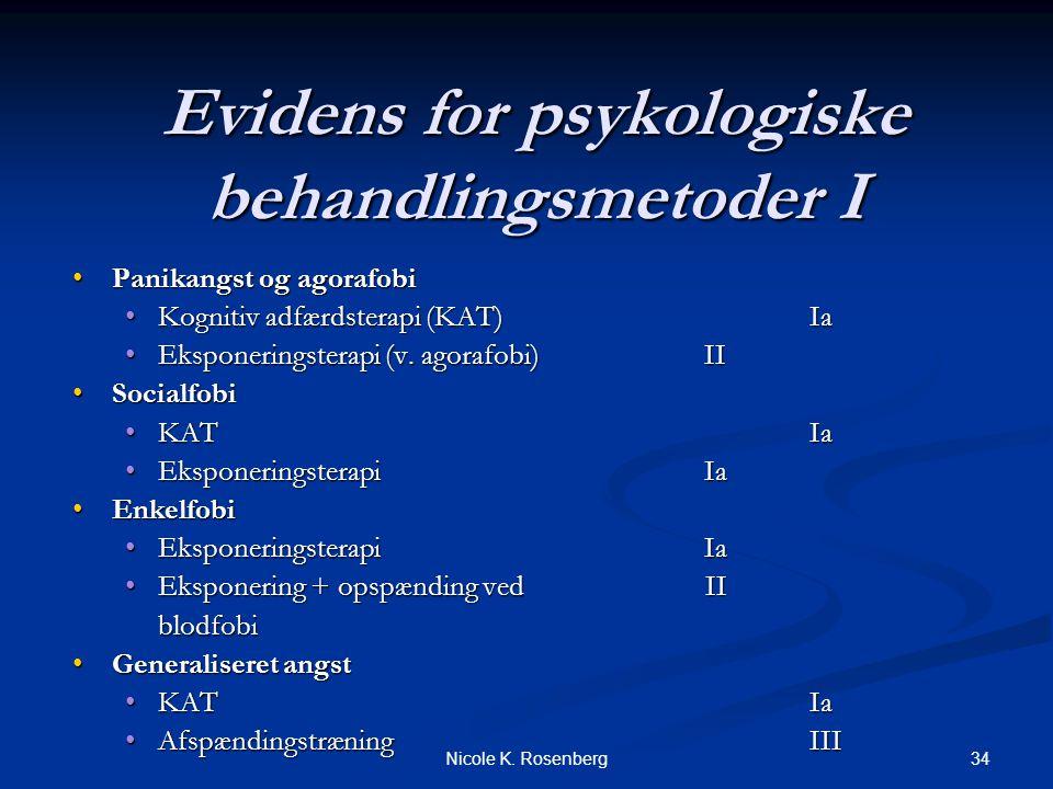 Evidens for psykologiske behandlingsmetoder I