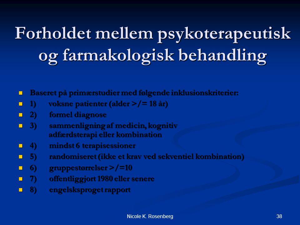 Forholdet mellem psykoterapeutisk og farmakologisk behandling