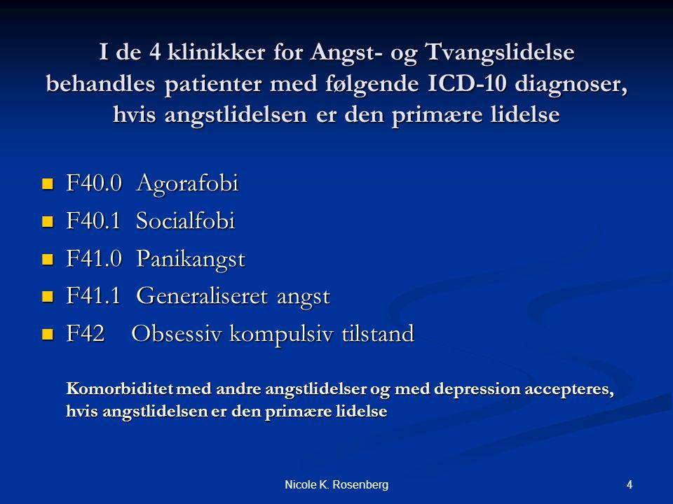 I de 4 klinikker for Angst- og Tvangslidelse behandles patienter med følgende ICD-10 diagnoser, hvis angstlidelsen er den primære lidelse