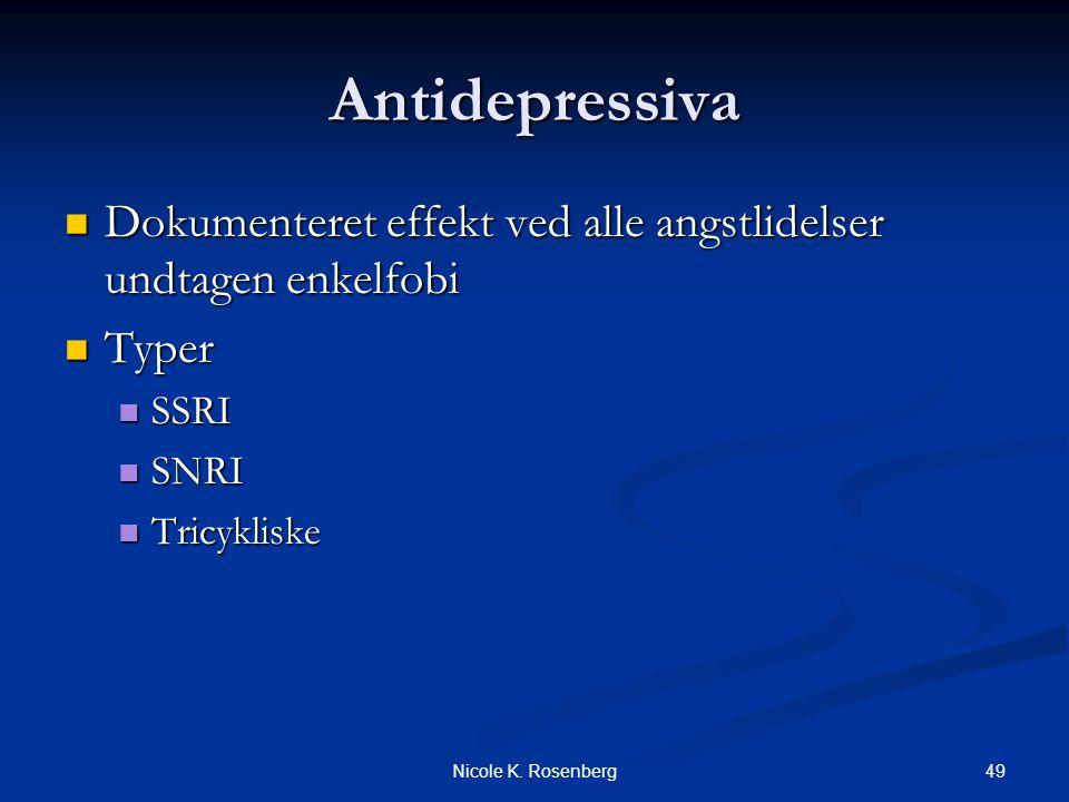 Antidepressiva Dokumenteret effekt ved alle angstlidelser undtagen enkelfobi. Typer. SSRI. SNRI.