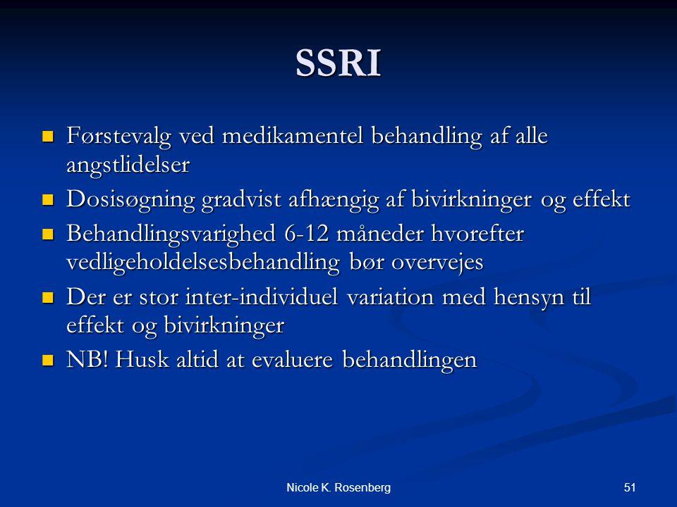 SSRI Førstevalg ved medikamentel behandling af alle angstlidelser