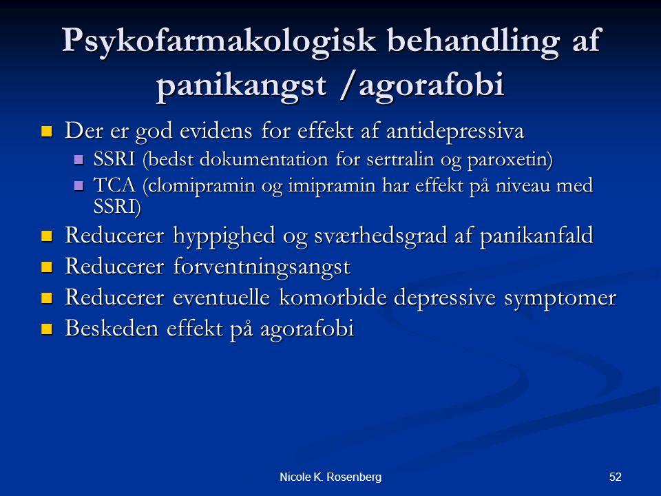Psykofarmakologisk behandling af panikangst /agorafobi