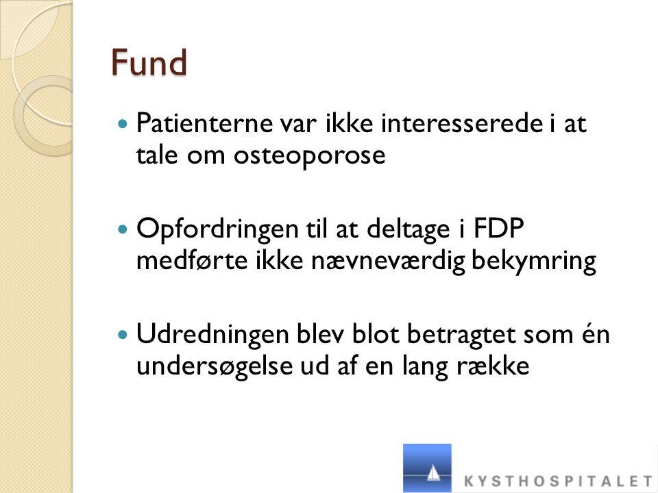 Fund Patienterne var ikke interesserede i at tale om osteoporose