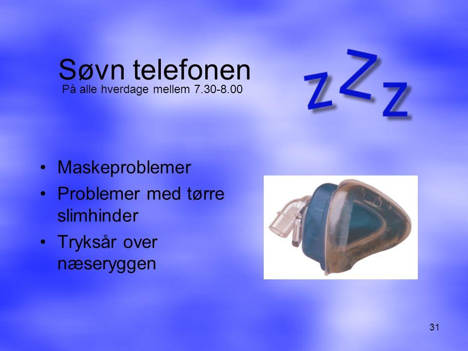 Søvn telefonen Maskeproblemer Problemer med tørre slimhinder