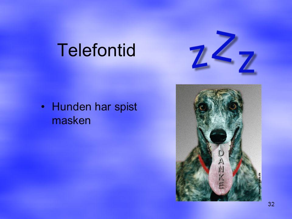 Telefontid Hunden har spist masken