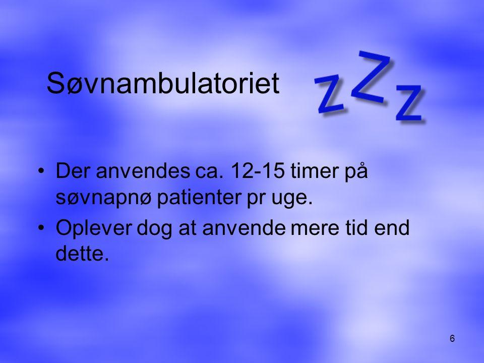 Søvnambulatoriet Der anvendes ca. 12-15 timer på søvnapnø patienter pr uge.