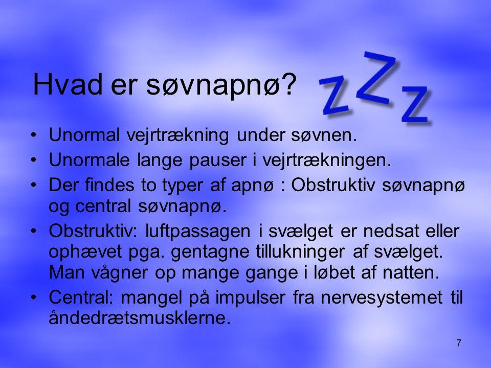 Hvad er søvnapnø Unormal vejrtrækning under søvnen.