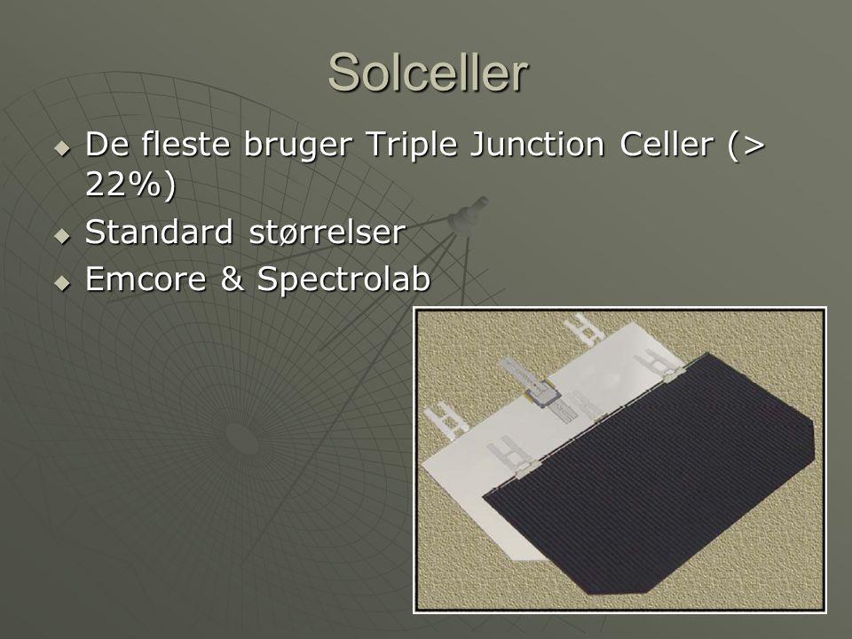 Solceller De fleste bruger Triple Junction Celler (> 22%)