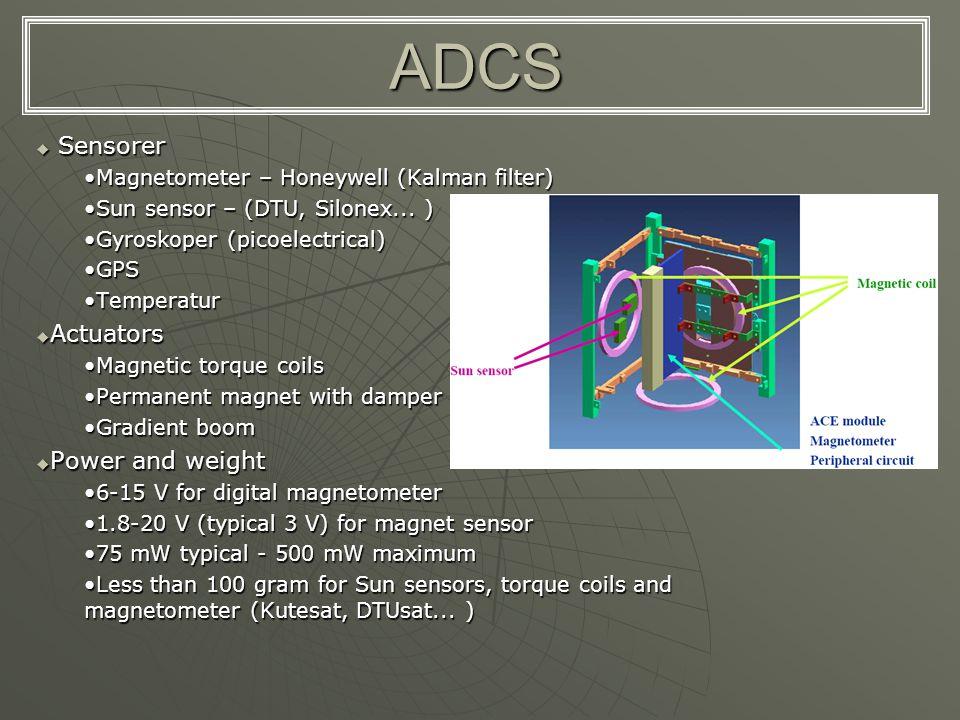 ADCS Sensorer Actuators Power and weight