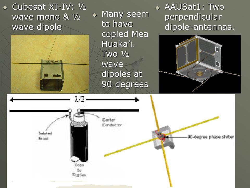 Cubesat XI-IV: ½ wave mono & ½ wave dipole