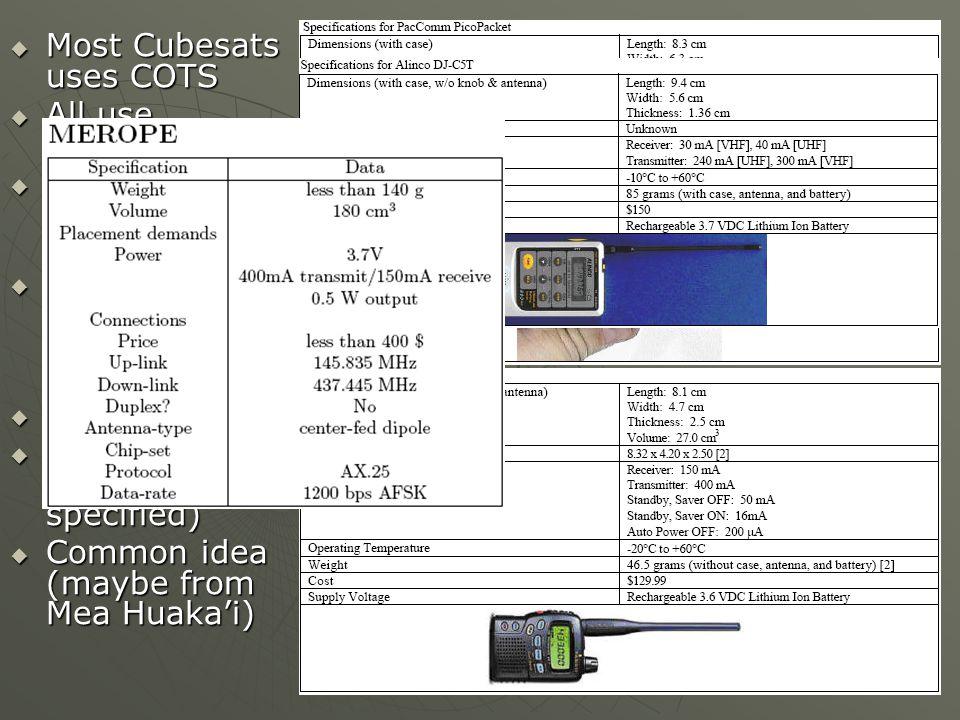 Most Cubesats uses COTS
