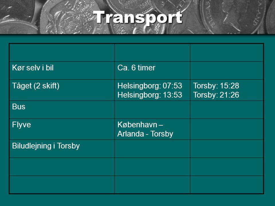 Transport Kør selv i bil Ca. 6 timer Tåget (2 skift)