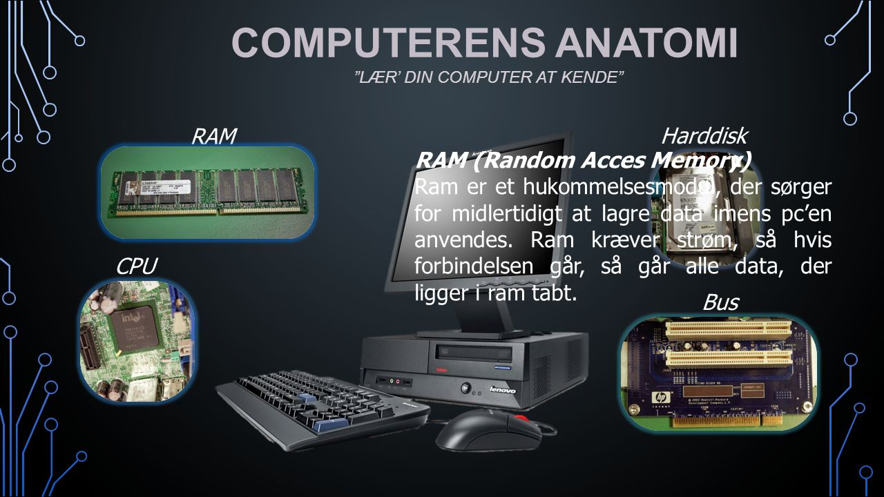 COMPUTERENS ANATOMI RAM Harddisk RAM (Random Acces Memory)