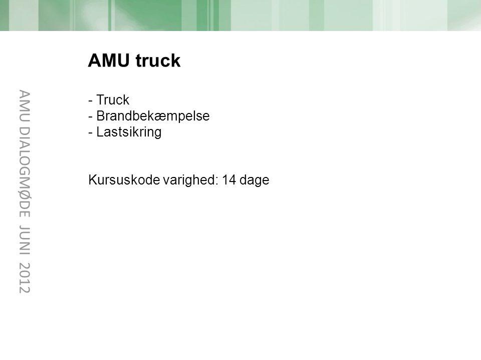 AMU truck AMU DIALOGMØDE JUNI 2012 Truck Brandbekæmpelse Lastsikring