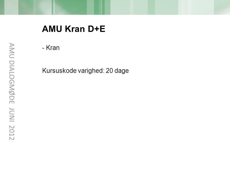 AMU Kran D+E AMU DIALOGMØDE JUNI 2012 Kran