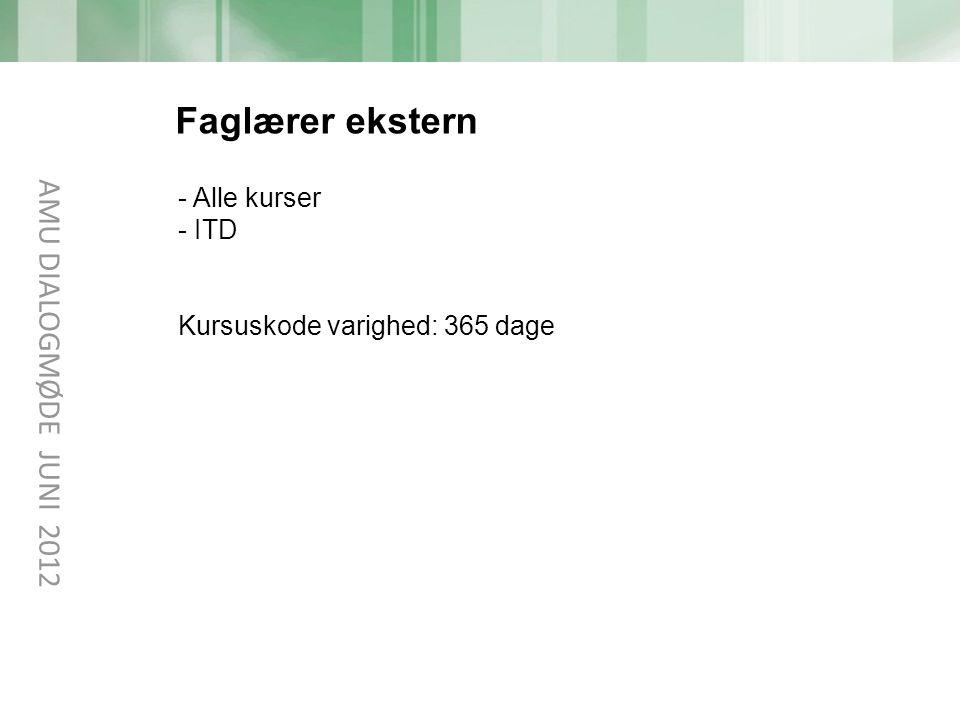 Faglærer ekstern AMU DIALOGMØDE JUNI 2012 Alle kurser ITD