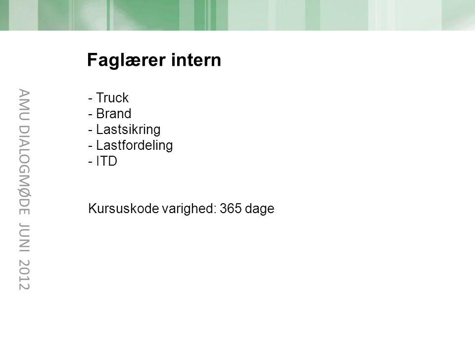 Faglærer intern AMU DIALOGMØDE JUNI 2012 Truck Brand Lastsikring