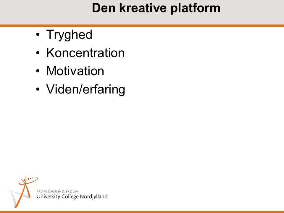 Den kreative platform Tryghed Koncentration Motivation Viden/erfaring